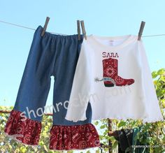 denim and bandana ruffle pants outfit-ruffle pants,bandana prints, cowboy boot applique, cowgirl outfit