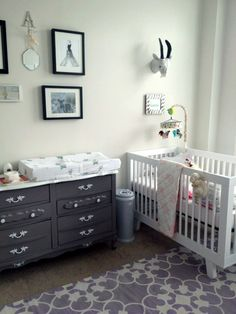 White babyletto hudson crib with more vintage dresser with white handles