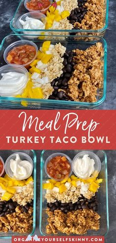 Turkey Taco Bowl {Easy Meal Prep Idea} | healthy easy ground turkey recipe Ground Turkey Bowl Meal Prep (Healthy & Easy Ground Turkey Recipes) | Easy Meal Prep Recipes - Are you looking for an easy ground turkey recipe for dinner? This turkey meal prep recipe is easy, healthy & perfect for weight loss & clean eating. Click through for the full recipe!  Meal prep clean eating | meal prep for the week | meal prep recipes | easy healthy lunch recipes Organize Yourself Skinny #turkeybowl…