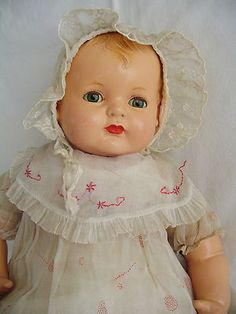 "Vintage Effanbee "" Sugar Baby "" Composition Doll 22"" w Original Tagged Dress"