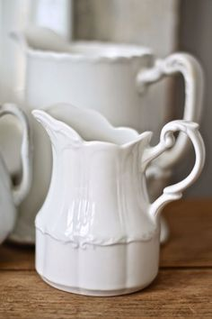 White pitchers.