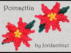 Poinsettia Flower Charm - Rainbow Loom or Monster Tail - Christmas Holiday tutorial by Rainbow Loom Tutorials, Rainbow Loom Patterns, Rainbow Loom Creations, Rainbow Loom Bands, Rainbow Loom Charms, Loom Knitting Patterns, Crazy Loom Bracelets, Loom Band Bracelets, Rainbow Loom Bracelets
