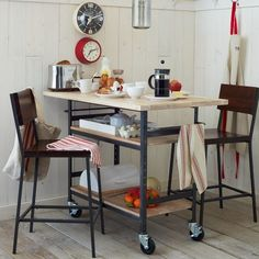 Build a stylish DIY multi-functional table. Free plans for a rolling industrial counter table, rolling island with lots of open storage. West Elm Knockoff