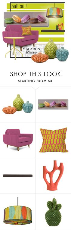 """""""Macaron Zing"""" by ladychatterley ❤ liked on Polyvore featuring interior, interiors, interior design, home, home decor, interior decorating, Joybird Furniture, Home Decorators Collection, Souda and Blu Dot"""