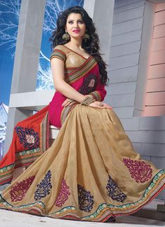 Sparkling Look Half And Half Saree