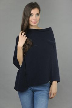 Pure Cashmere Knitted Asymmetric Poncho Wrap in Navy Blue front 1 Cashmere Poncho, Winter Springs, One Size Fits All, Navy Blue, Bell Sleeve Top, Ruffle Blouse, Pure Products, How To Make, Collection