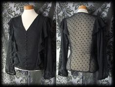 Gothic Black Frill Detail ASSASSIN Tiny Button Blouse 8 10 Steampunk Victorian