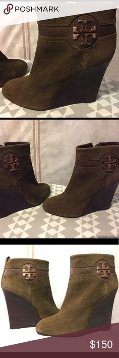 Tory Burch 'Aaden' Olive Brown Wedge Booties 9 Brand: Tory Burch (100% Authentic)  Material: Combo of Suede & Pebbled Leather. Gold Iconic Stacked Double 'T' Medallion on the ankle of both shoes.  Condition: EXCELLENT USED CONDITION  Additional Info: These Booties are absolutely beautiful, on trend & incredibly luxurious! If you understand the importance of investing in high quality shoes & purses, then you won't be disappointed by these!  YES, I am open to offers & trades. I strive to ship…