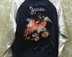 Vintage 80s Rayon Phoenix bird Japan Sukajan yokosuka embroidery Japanese souvenir jacket M size blue colour