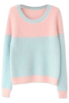 Sweet Pink Light Blue Long-Sleeves Mohair Knit Sweater - OASAP.com ★ Pair it with skinnies and boots.