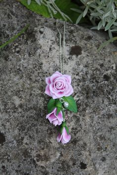 Rose pendant pink necklaces pendant rose by Jewelrylimanska