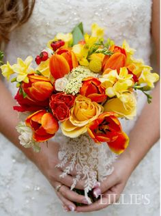 yellow and red tulip wedding cakes   red orange and bright yellows this bouquet glows with orange tulips ...