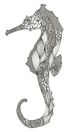 adult ocean zentangle anti stress coloring pages printable and coloring book to print for free. Find more coloring pages online for kids and adults of adult ocean zentangle anti stress coloring pages to print. Henna Tattoo Designs, Adult Coloring Pages, Coloring Books, Colouring, Tattoo Studio, Henna Tattoo Muster, Creatures 3, Sea Creatures Drawing, Art Plastique