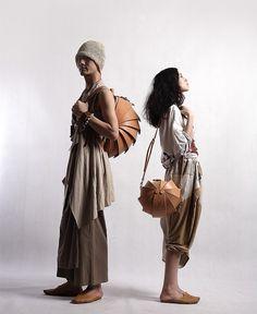 Leather Handmade Handbag  Round Nude  Color