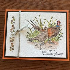 Much of this card was learned from a demonstrator in the UK but with my own personal twist. I haven't used my Watercolor Pencils that much s. Fall Cards, Holiday Cards, Thanksgiving Gifts, Bird Cards, Butterfly Flowers, Card Tutorials, Pheasant, Masculine Cards, Flower Cards