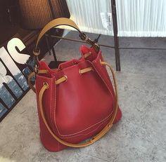Vintage String Closure Bucket Handbag