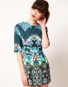 Sister Jane Jewel Print Shift Dress £68.00  Dress by sister jane   - All over digital jewel print  - Mid-length sleeves  - Exposed zip fastening through the back  - Lantern skirt  - Regular fit