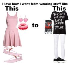 """Then and now"" by the-pastel-goth ❤ liked on Polyvore"