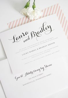 Romantic Script Wedding Invitations in Blush Pink. Ask us how we can customize colors and wording!