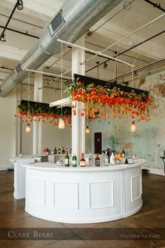 round bar with hanging tulips