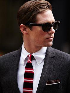 Dark grey jacket, white OCBD, navy tie with red & white horizontal stripes