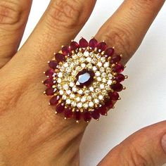 Stunning Natural Ruby And Diamond Gold Cocktail Ring - Rubies & Sapphires Sterling Silver Wedding Rings, Fine Jewelry, Jewellery, Diamond Ring Settings, Rings Cool, Natural Ruby, Cocktail Rings, Blouse Designs, Natural Diamonds