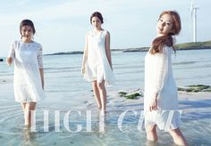 Red Velvet's Irene, Joy, and Yeri had fun in the sun on Jeju Island for High Cut Vol. In the pictorial, the beauties presented Innisfree's newest Summer 2015 cosmetics collection. Irene Red Velvet, Red Velvet Ice Cream, Red Velvet Joy, Pretty Photos, Beach Babe, High Cut, New Girl, Kpop Girls, Editorial Fashion
