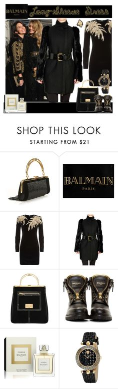 """Warm Up: Balmain Long-Sleeve Dress"" by yours-styling-best-friend ❤ liked on Polyvore featuring Balmain, Versace and Armenta"
