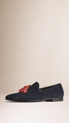 Whole-cut Suede Tassel Loafers Midnight Blue/Deep Red | Burberry