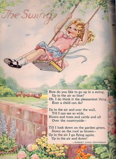 The Bumper Book (1946). Illustration by Eulalie Banks. Poem by Robert Louis Stevenson.. I remember learning to recite this poem in kindergarden.....one of my favorite poems growing up