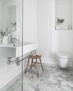 Sunday morning bathroom inspiration via #pinterest...grey and white is always right!! Oh and those marble hexagons #bathroominspo #bathroomdesign #hexagontiles #marbletiles #greyandwhite #tiles #flooring #bathroomdecor #interiordesign #mandarinstone