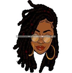 Afro Pretty Diva Locs Hairstyle Black Woman Urban Nubian Ebony Melanin SVG JPG PNG Vector Clipart Cricut Silhouette Circuit Cut Cutting