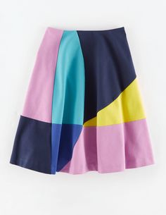 """Boden Alice Ponte Skirt. """"Happiness in a skirt. The full shape and coloured panels give it a feminine and flirty feel."""" #NewBritish"""
