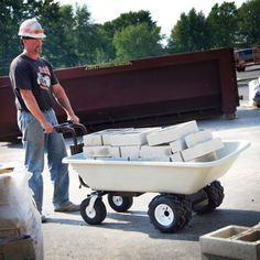 Electric wheelbarrows, wagons & garden carts that can move up to 750 lbs & 10 Cubic Feet of material for hours of use with our rechargeable battery!