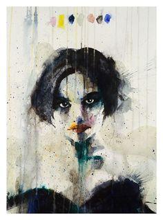 Portræt af den franske skuespillerinde Béatrice Dalle, 70 x 100 centimeter - akvarel