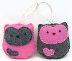 Pair of Felt Owl Ornaments  Pink and Dark Grey by Whimzy Hollow