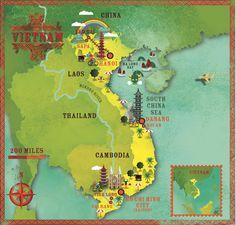 Vietnam map by Cartographik for lp magazine (Alexandre Verhille).