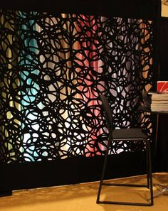Rose Brand displayed its precision-cut fabric, which can be used as a backdrop, scenic element, tent liner, or ceiling cover. The laser-cut material comes in a variety of organic, abstract designs, but can also be custom-made to display logos.