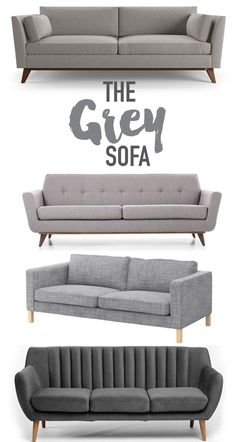 Reasons why you should buy a classic grey sofa for your living space. Grey is a neutral color that works well with many passing design trends and styles. Living Room Sofa Design, Living Room Grey, Home Living Room, Living Room Designs, Living Room Decor, Grey Sofa Design, Sofa Furniture, Living Room Furniture, Furniture Design