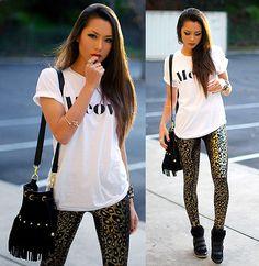 Brashy Couture Meow Tshirt, Black Milk Clothing Jungle Cat Leggings (Sold Out), Nasty Gal Fringe Bag