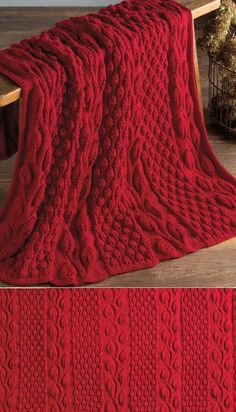 Afghans Free Knitting Pattern for Autumn Blaze Afghan - This throw knit in panels and seamed features leaf lace and berry stitch texture. Designed by Nazanin S. Lace Knitting Patterns, Afghan Patterns, Loom Knitting, Knitting Stitches, Free Knitting, Baby Knitting, Knitting Designs, Knitted Afghans, Knitted Blankets