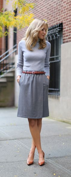 The Classy Cubicle: Shades of Gray. The fashion blog for professional women who need office style inspiration and work wear ideas for the corporate world and beyond. {mango, banana republic, ralph lauren, grey, wool wrap pencil skirt, turtleneck, silver jewelry, cognac caramel brown braided belt, pointed pumps}