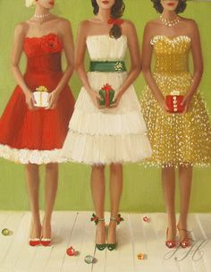 Christmas Belles by Janet Hill (Giclee Print, 7.25 x 9.5, $26) (Original Oil Painting on Stretched Canvas, 11 x 14)