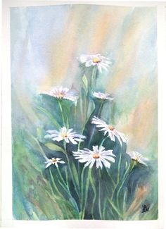 watercolor daisy by JP Wisniewski painting flowers, original painting floral, art floral, daisy painting, hand made painting Watercolor Sketch, Watercolour Painting, Daisy Painting, Painting Flowers, Happy Sing, How To Make Paint, Original Paintings, Art Floral, Etsy