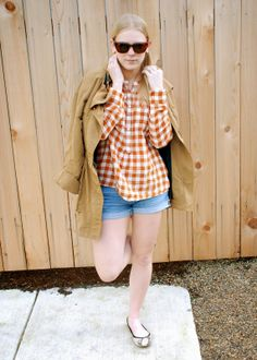 Current Habits | Madewell flannel top with J.Crew denim shorts and a G.E.T. parka | #ootd #spring