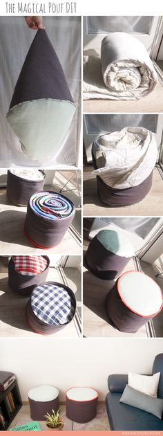 On a tous des couettes ou des duvets en trop, on… Bin Bag Chair, Sewing Toys, Sewing Crafts, Crafts To Do, Diy Crafts, Diy Pouf, Crochet Pouf, Baby Sewing Projects, Diy Projects