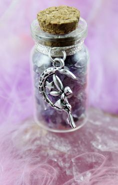 Faerie Magick Spell Bottle, Crystal Healing, Pagan, Wiccan, Fae Realm, Fairy, Magical, Spiritual, in glass vial with ribbon and Faery Charm on Etsy, $11.54 AUD