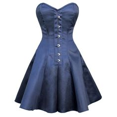 Vestido de corsé de satén azul evasé