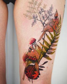 cardinal bird tattoo on hip by @dzo_lama