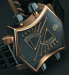 ARTYA Son of Sound Movement Mechanical automatic, ArtyA-007 calibre Functions Retrograde hours and minutes, chronograph Case 18k pink gold and titanium, shaped like a guitar head 4 pushers shaped like tuning pegs Dial Vertically hand-brushed black Hour and minute indications on separate metronome-type discs Bracelet/Strap Brown crocodile with 18k pink gold double pin buckle